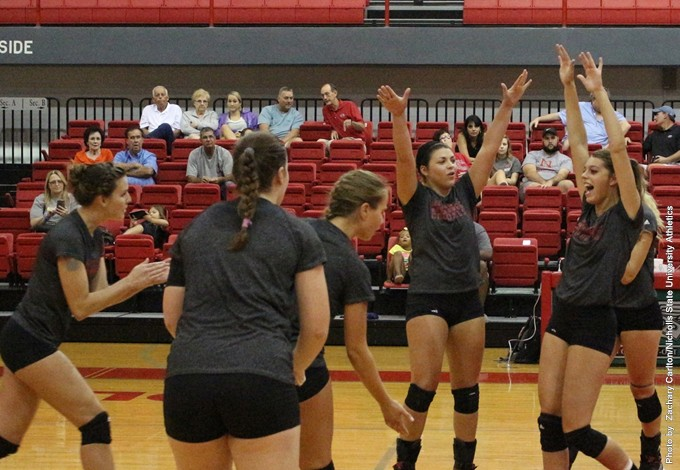 Nicholls Volleyball Celebration, Robin Sill, Emily Weimer